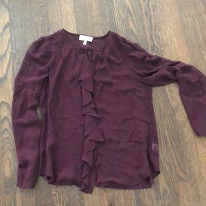 Anthropologie maroon sheer blouse